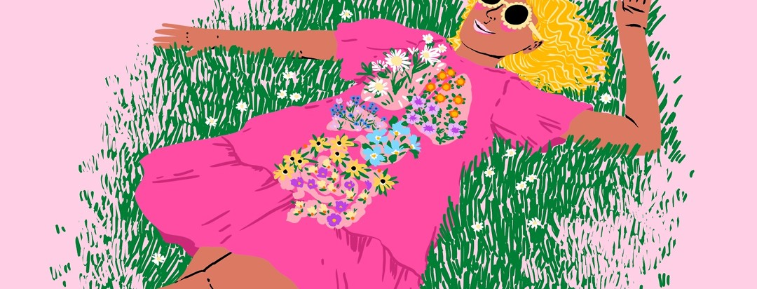 A woman in a pink dress and sunglasses lies in the grass. Her lungs and gut are sprouting with flowers on top of her dress.
