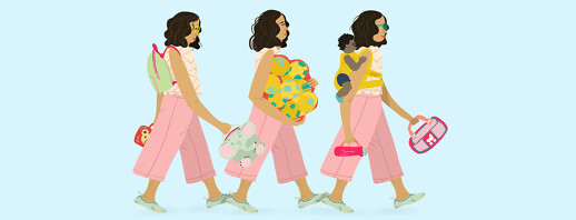 A foster mom walks through her journey with lunch boxes, a backpack, a baby carrier, and more.