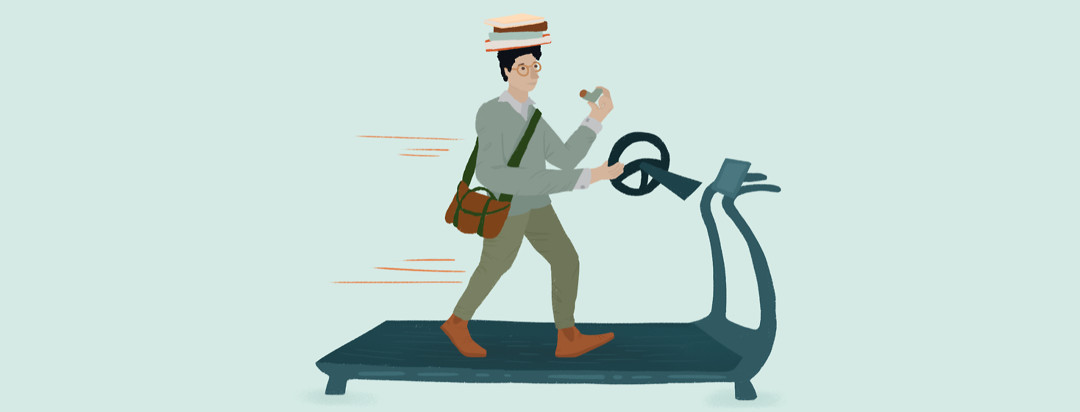A person on a treadmill holding an inhaler to their mouth, and balancing a stack of books on their head. In one hand they hold a car steering wheel.