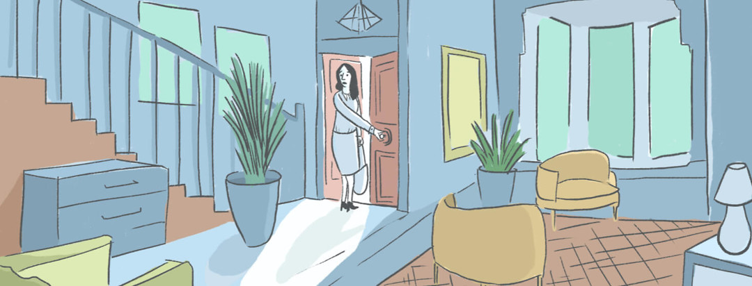 A person stands halfway out the door, contemplating whether she'll continue to leave the house for work.
