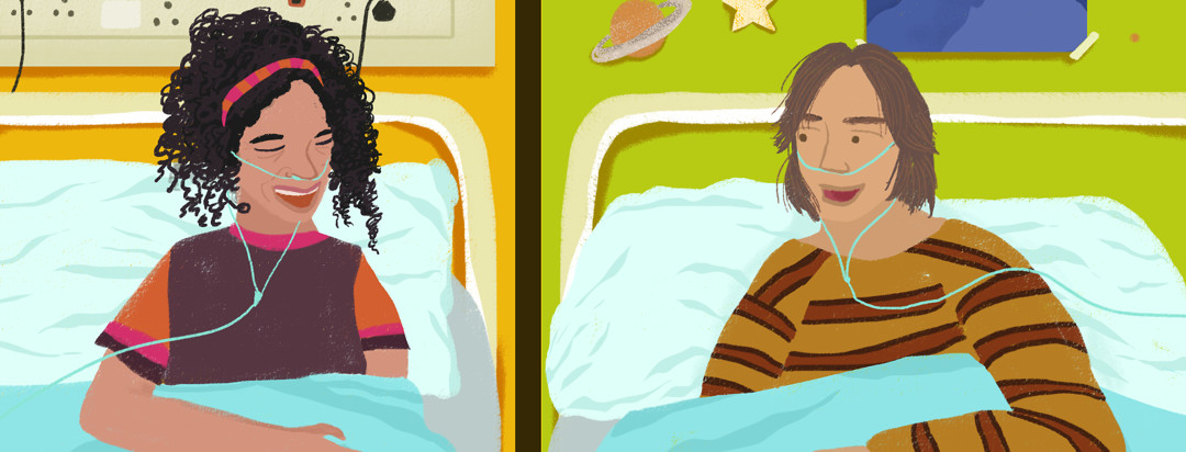 Two friends with cystic fibrosis chat from across their hospital beds.
