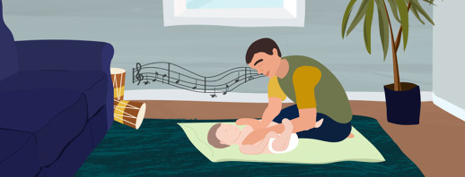 Father does chest compressions for infant child. Musical notes, a couch, and a plant are in the back.