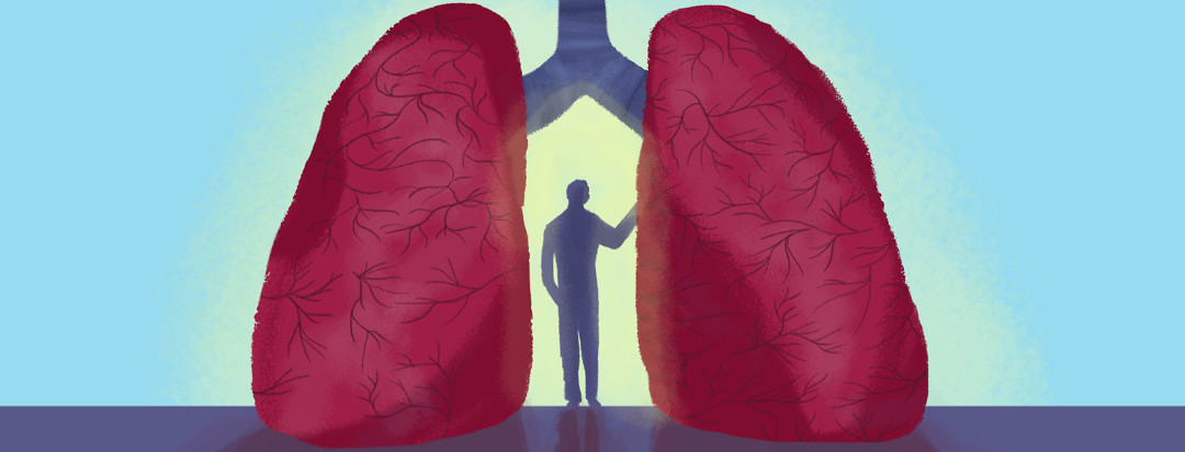 A person stands between a pair of lungs like an archway