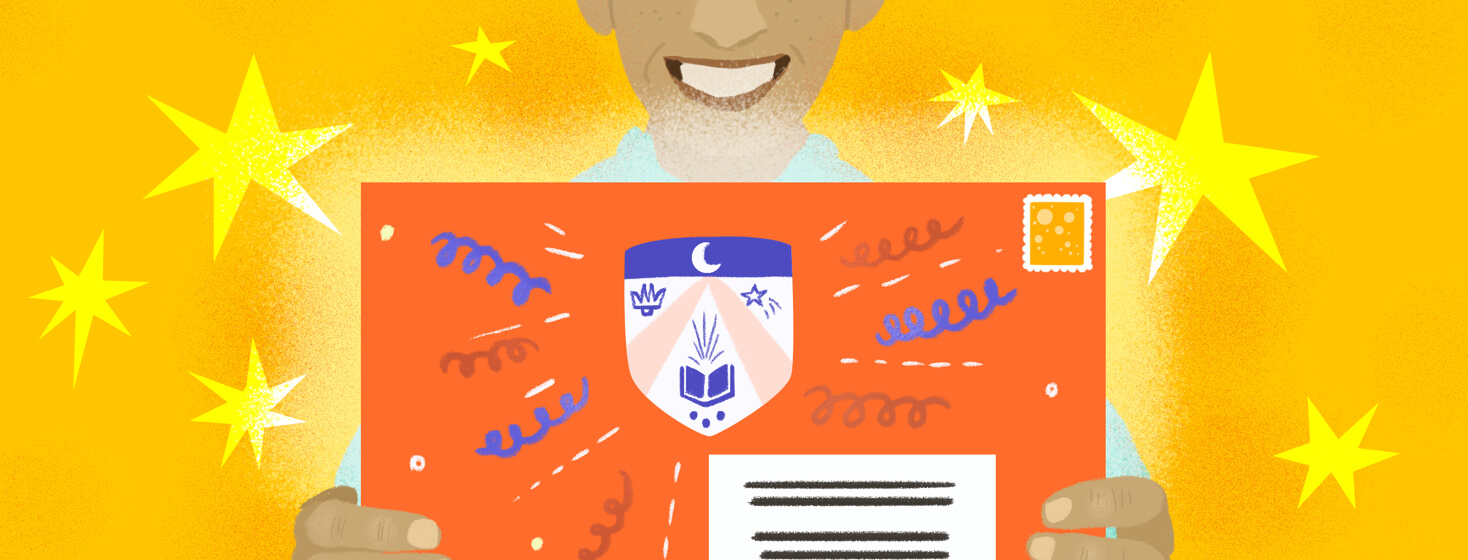 A smiling person holds a college acceptance envelope