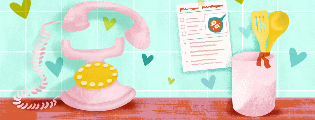 Vintage telephone ringing, two cooking spoons tied by ribbon, shakshuka recipe taped to wall, floating hearts.