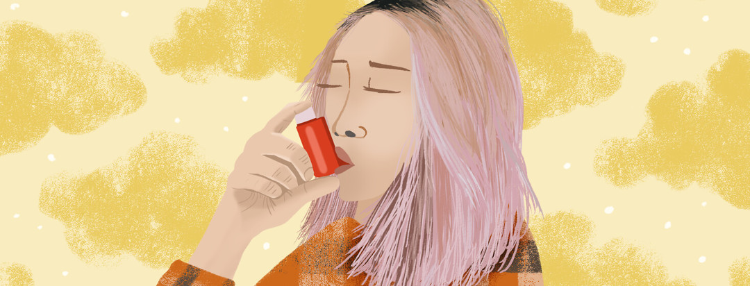 Person with pink hair inhales from a metered dose inhaler with clouds behind her.