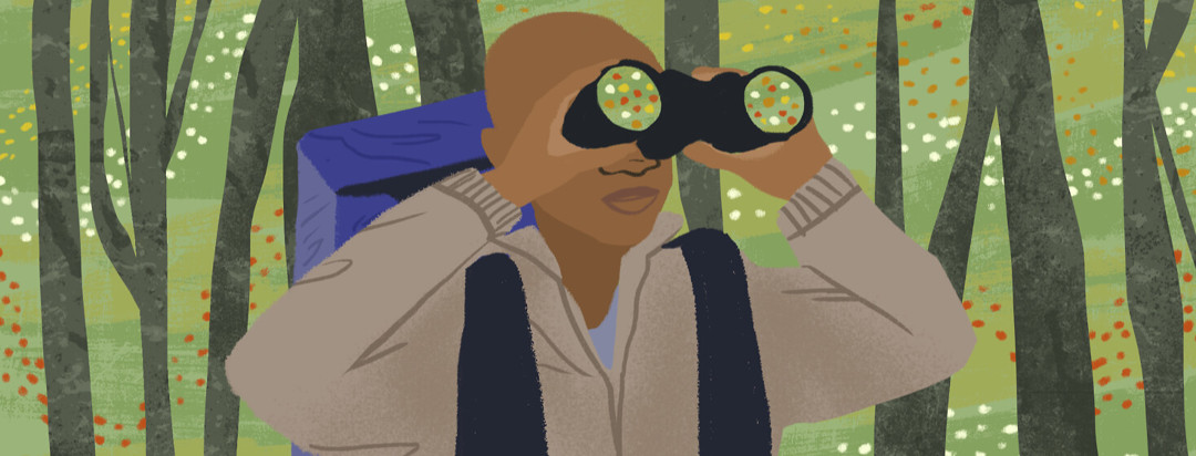 Person with camping backpack and binoculars looks out for answers and change patterns through the trees.