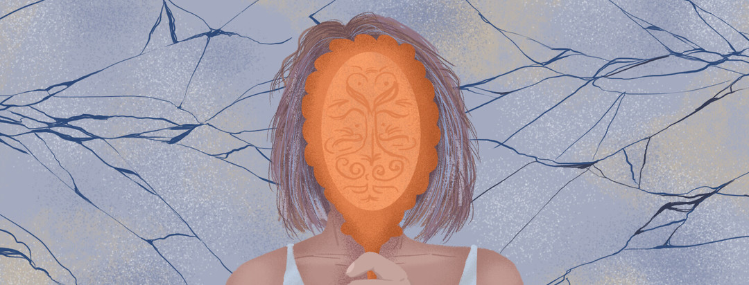 A person with short frizzy hair holds a mirror to their face; cracked glass patterns scatter behind her.