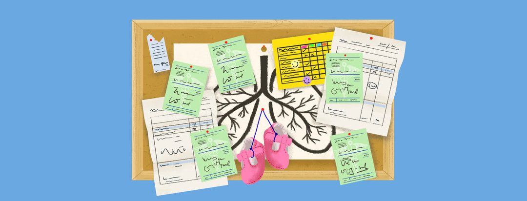 Bulletin board with receipts, prescription forms, invoices, baby shoes, report card. A drawing of lungs is tacked behind papers.