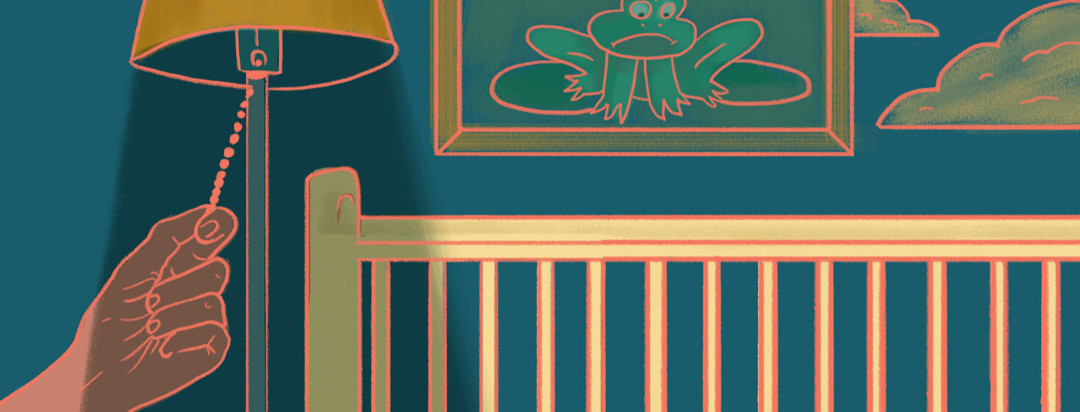 Person shutting off the light on idea of having children with empty crib and portrait of sad frog on the wall.