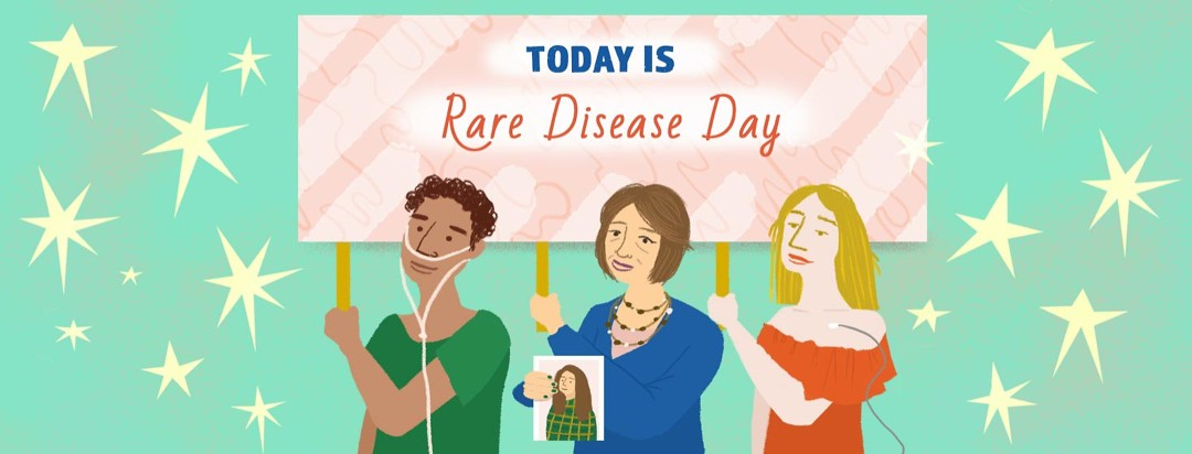 Three people, one with nasal cannula, one holding a picture of a loved one, the third with a port, holding a sign that reads today is rare disease day
