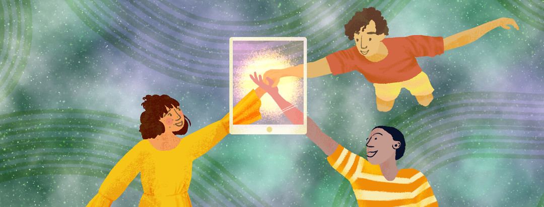 People floating in digital galaxy touch hands through screen.