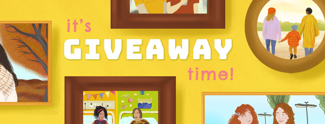 "Portraits of people in frames on wall with text, ""It's Giveaway Time!"""