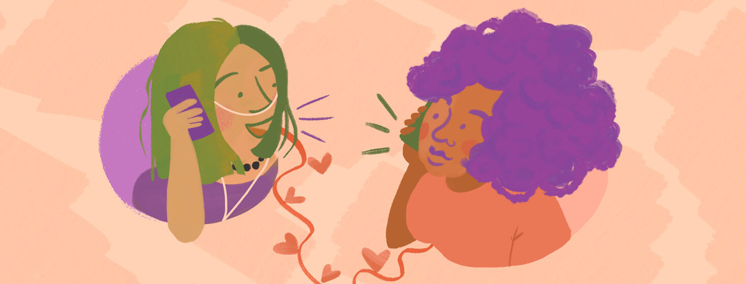 Woman with green hair and nasal cannula chats on phone as Black woman with purple afro on receiving end listens; the two connect through heart dotted telephone cord.