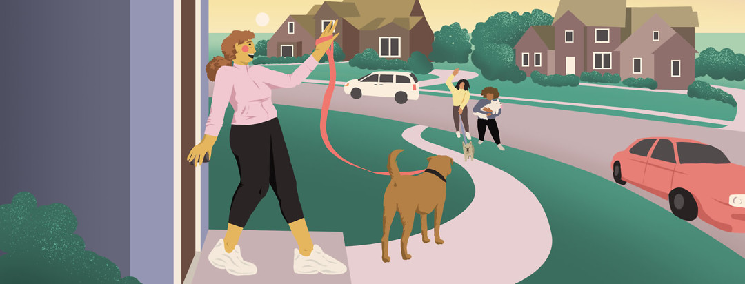 Person waving from door with dog on leash to friends on curb.