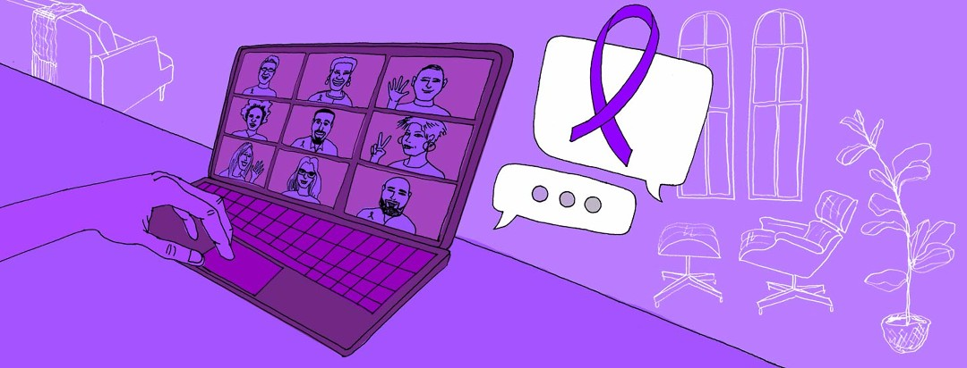 Person on video call with 9 friends chatting about cystic fibrosis awareness.