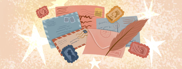 Stack of letters, stamps, quill, stars.