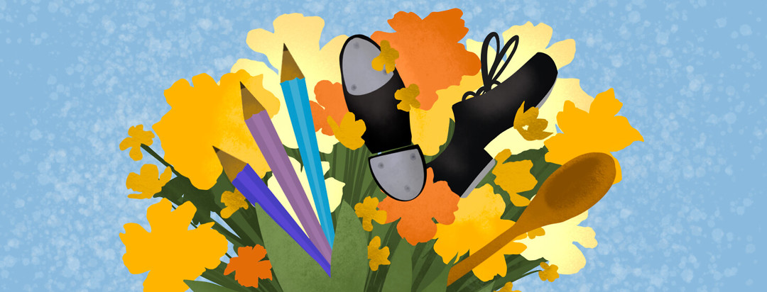 Bouquet of flowers featuring pencils, tap shoes, and wooden spoon.