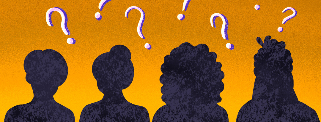 Four people in silhouette featured with question marks above their heads