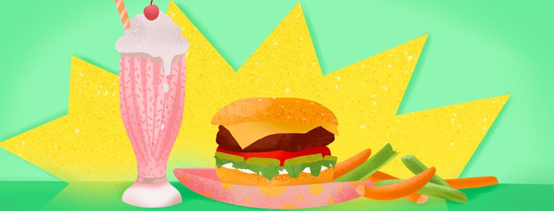 A milkshake, burger, carrots, and celery sticks on plate.