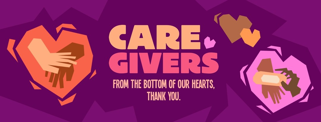 caregiver awareness month imagery of colorful hearts with different caregivers hands inside