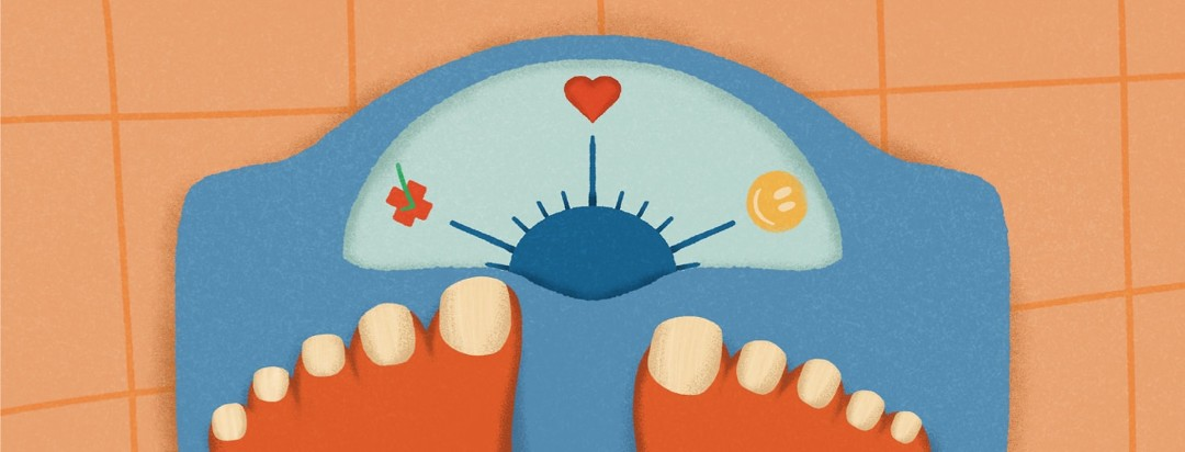 Feet on a scale, that instead of numbers has a heart, a smiley face, and a check box