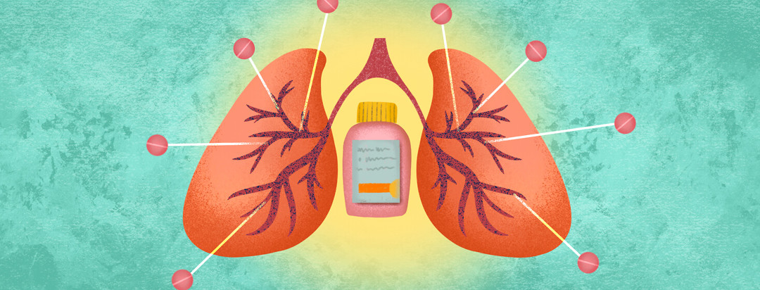 Pair of lungs with ibuprofen bottle in middle; individual pills target lung veins.
