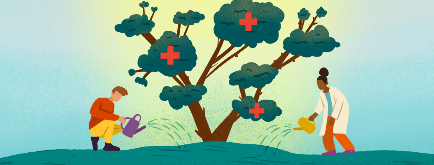 Male teen patient and Black female doctor with watering cans water growing tree that features medical red cross symbol
