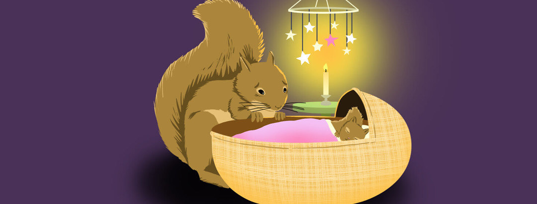 A squirrel mom worries over bassinet with a baby squirrel sleeping under starry mobile