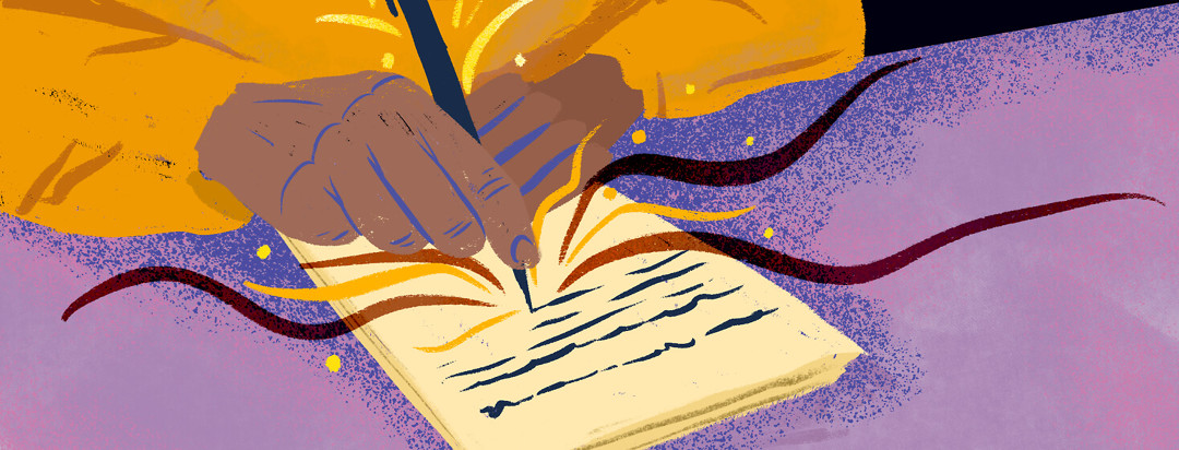 Hands writing advance care directive with sparks flying from pen.