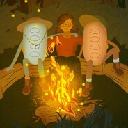 A person embracing 2 different colored trikafta pills around a campfire at night