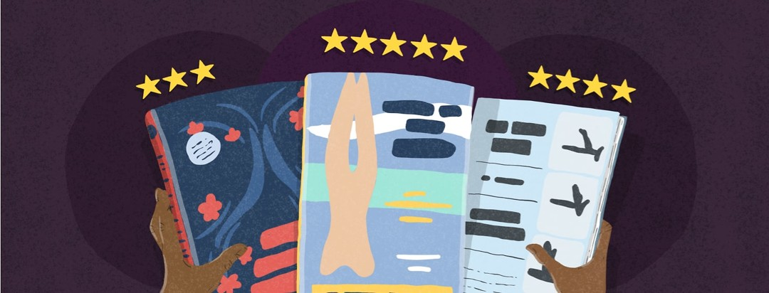 3 books with star ratings above them