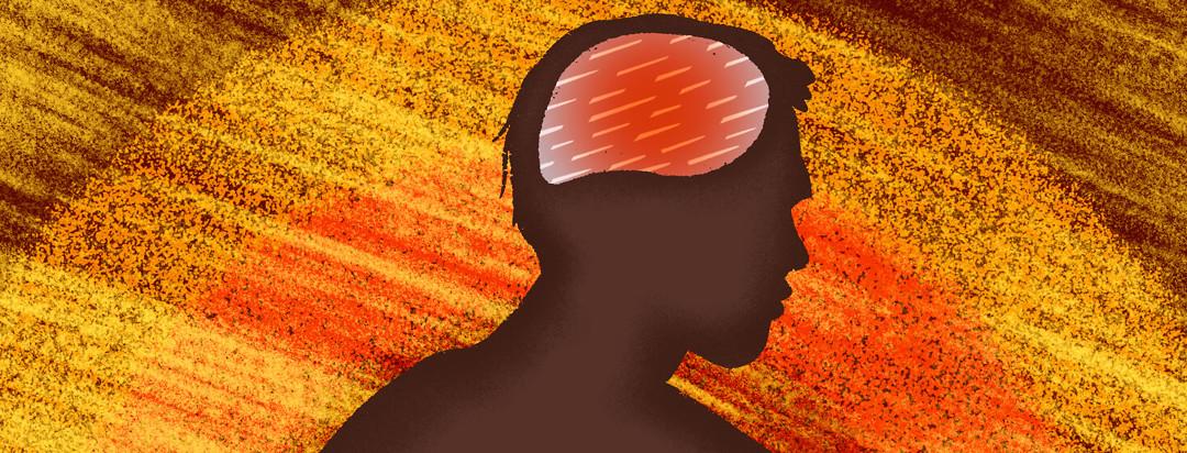Man in silhouette with brain spears running through mind