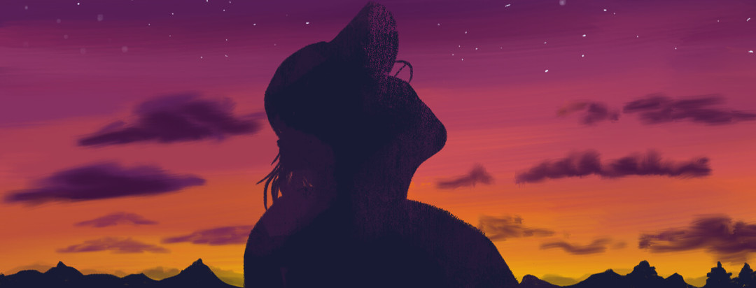 Silhouette of woman with glasses and baseball cap looking up at purple yellow orange sunset