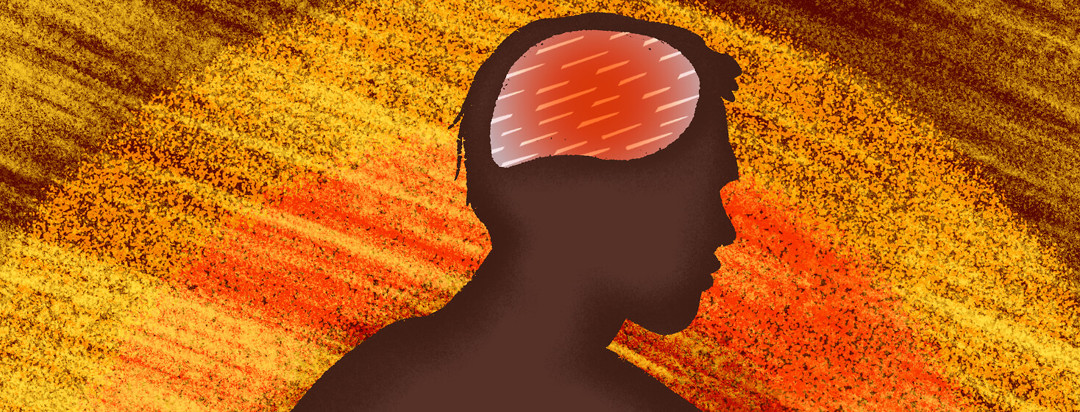 A silhouette of a man, his brain highlighted in red with spears running through it