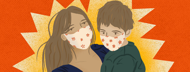 White mother holding her son, who has cystic fibrosis, while both wear face masks; yellow starburst behind them