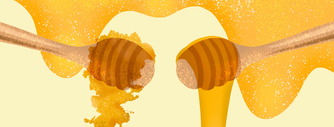 Two spools of honey with dripping behind them; one features flakey crystalized honey, the other features smooth fluid dripping.
