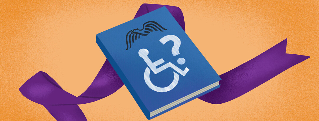 Purple CF ribbon behind blue book with social security and disability symbols, questioning eligibility