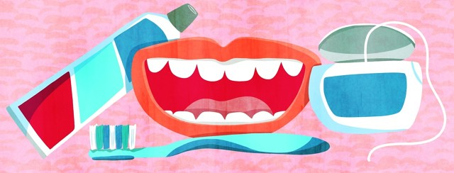 A smiling mouth in the center of an assortment of toothpaste, a toothbrush, and dental floss. Dental health, teeth, personal hygiene.
