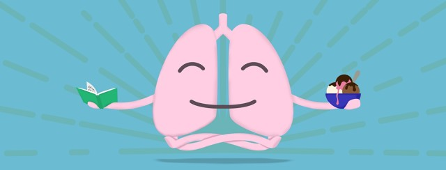 A happy, floating pair of lungs holding a book and a bowl of ice cream.