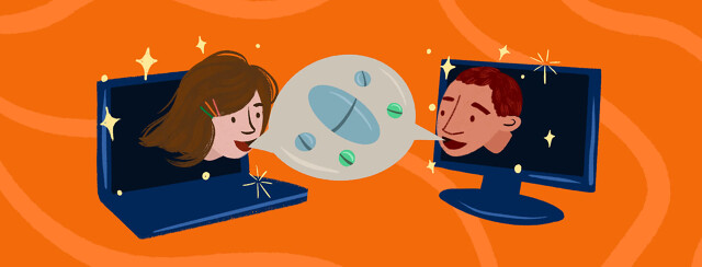 Woman emerging from laptop and man from computer screen chat through shared talk bubble about medication Trikafta