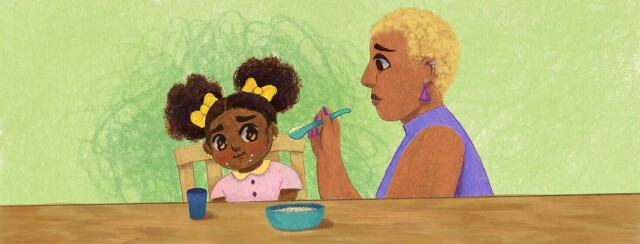 Adult female parent tries to feed picky toddler with cystic fibrosis. Child, POC, Black.