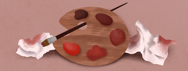 Paint palette with red blotches and tissues with blood on them