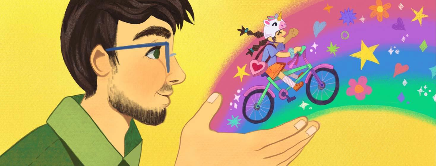 A father holds out his hand, a rainbow comes from his palm as his child rides her bike over it.