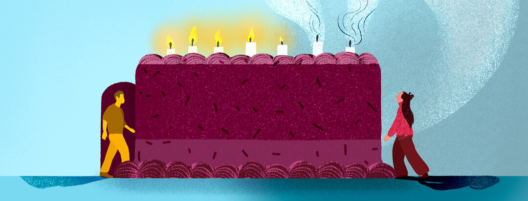 Two figures approach opposites sides of birthday cake; man walks through cake door where candles are lit above, while female figure stands by side watching blown out candle smoke from above.