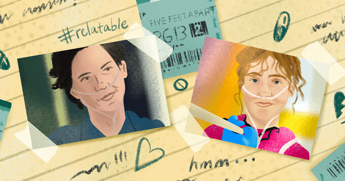 Scrapbook featuring Cole Sprouse and Haley Richardson in Five Feet Apart with movie tickets and scribbles