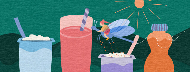 Toddler on a dragonfly zips through nutritional choices like yogurt, smoothies, and a nutritional shake