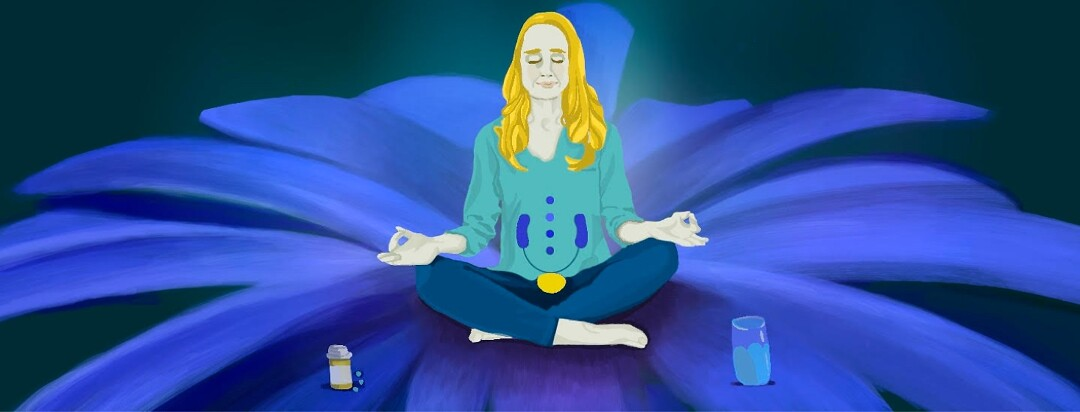A woman sits on a blue flower meditating with pills and water