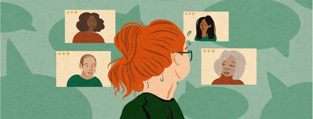 Redheaded woman stares behind her nervously at four levitating screens of waiting therapists