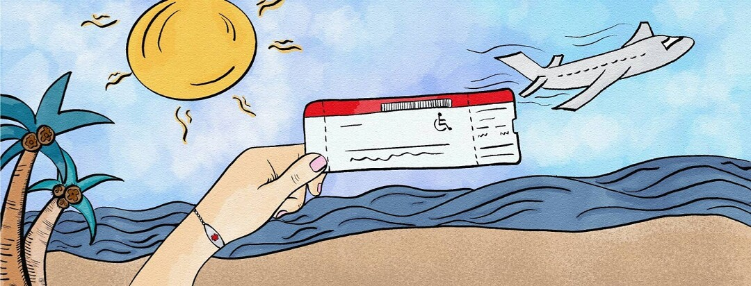 Person with medical bracelet holding up handicap plane ticket over a sunny beach.
